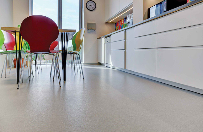 Office canteen flooring should be slip resistant to keep staff and visitors safe