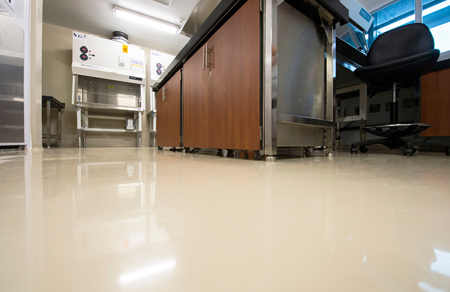 Flowcrete's self-levelling, solvent-free epoxy floor coating system, Flowshield SL, was installed on both these floors.
